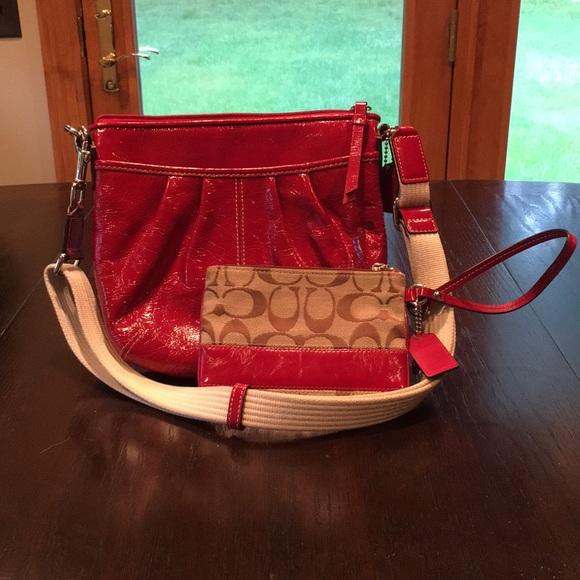 Coach Handbags - Coach: Red Hobo Style Bag & Wristlet